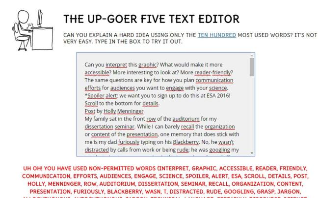 Post in Upgoer 5 text editor